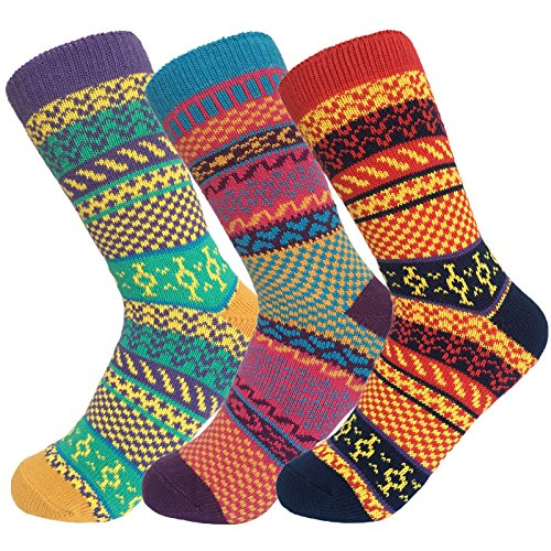 Fly-love Women's 3 Pairs Vintage Thick Cotton Crew Socks Colorful Warm Casual Winter Mid-calf Sock (colorful 1);One Size