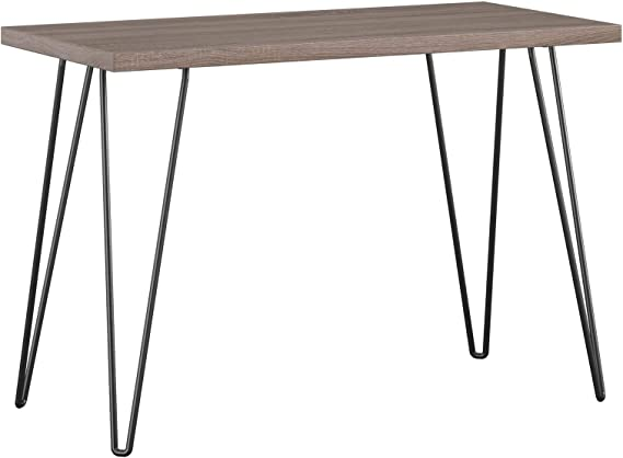 AmazonBasics Retro Hairpin Compact Computer Desk - Washed Grey with Black Legs