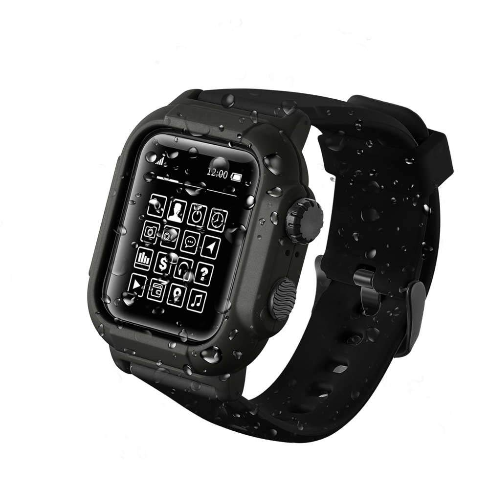 for Apple Watch Waterproof Case 42mm, Shock-Proof and Shatter-Resistant Silicone Sport Band for iWatch Replacement Bracelet Strap with Frame Case for iWatch Series 3 2 1 (Black, 42mm)