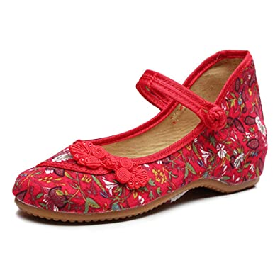 Mary Jane Canvas Small Fowers Stamp Women Zapatos de ...
