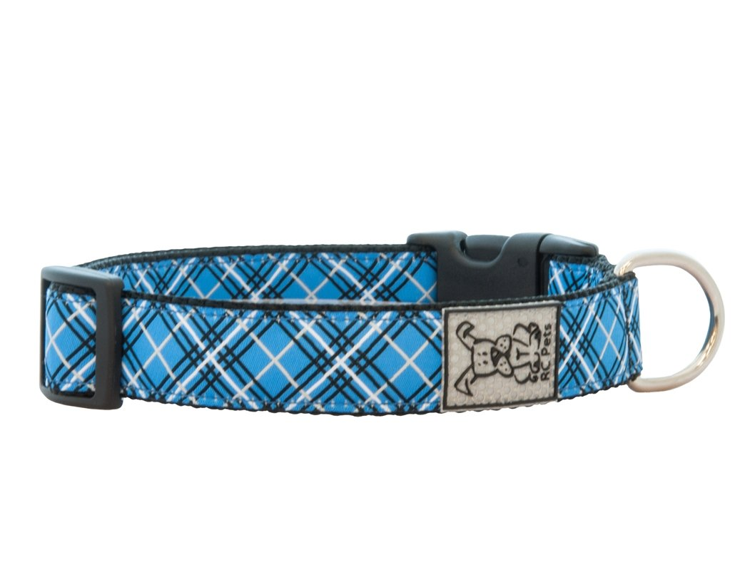RC Pet Products 1-Inch Adjustable Dog Collar, Medium, Blue Tartan