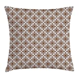 Queen Area Ethnic Thai Mosaic Culture Stylized Abstract Lines Dots Pattern Folk Asian Design Square Throw Pillow Covers Cushion Case for Sofa Bedroom Car 18x18 Inch, Redwood White