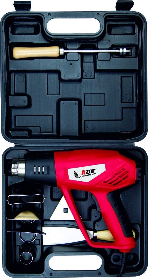 Azor DE-4554 Pistola de Capadora con Accesorios Y Maletín, 2000 W, 240 V, Rojo