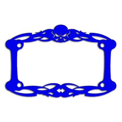Ferreus Industries Blue Powdercoat Motorcycle License Plate Frame Tattoo Skull Skeleton Skull - 1 Piece LIC-112-Blue: Automotive
