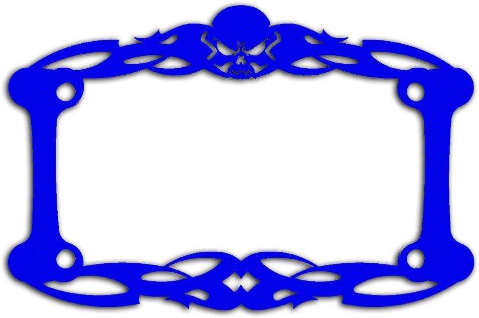 Ferreus Industries Blue Powdercoat Motorcycle License Plate Frame Tattoo Skull Skeleton Skull 1 Piece LIC-112-Blue