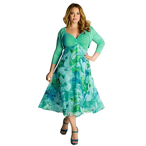 Hemlock Plus Size Dress, Women Summer Floral Boho Dress Casual Chiffon  Dress (3XL, Green)