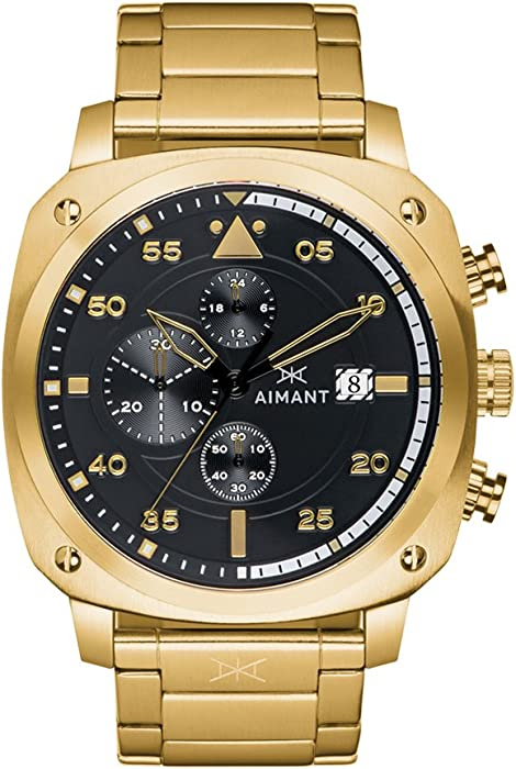 AIMANT Mens Watch Dakar Gold with Gold Stainless Steel Bracelet GDA-230SG-1G