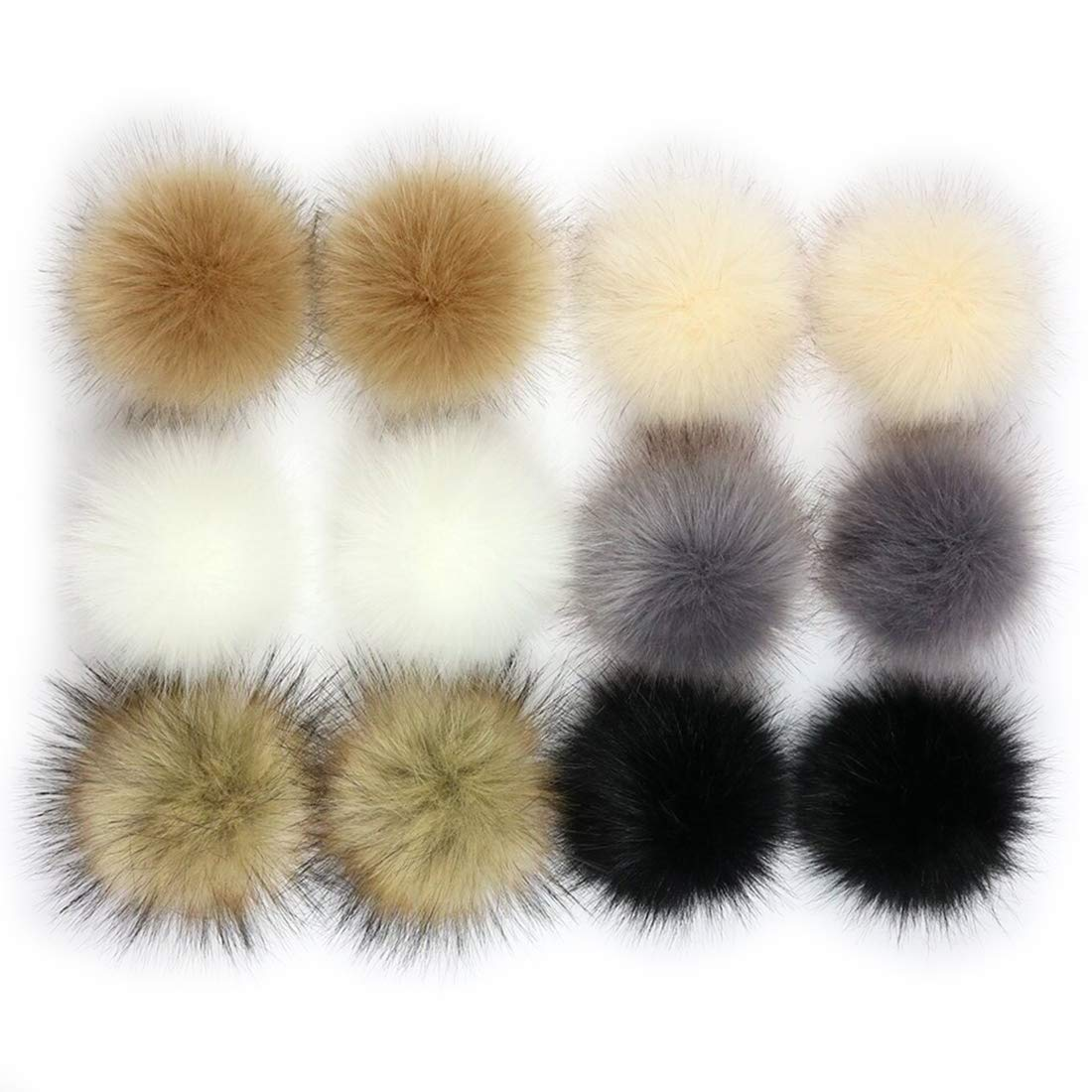 Tosnail 12 Pack Faux Fur Flurry Pom Poms Ball Knitting Crafting Accessories for Hat, Shoes, Scarves, Bag Charms - Hot Sale Color Assortment