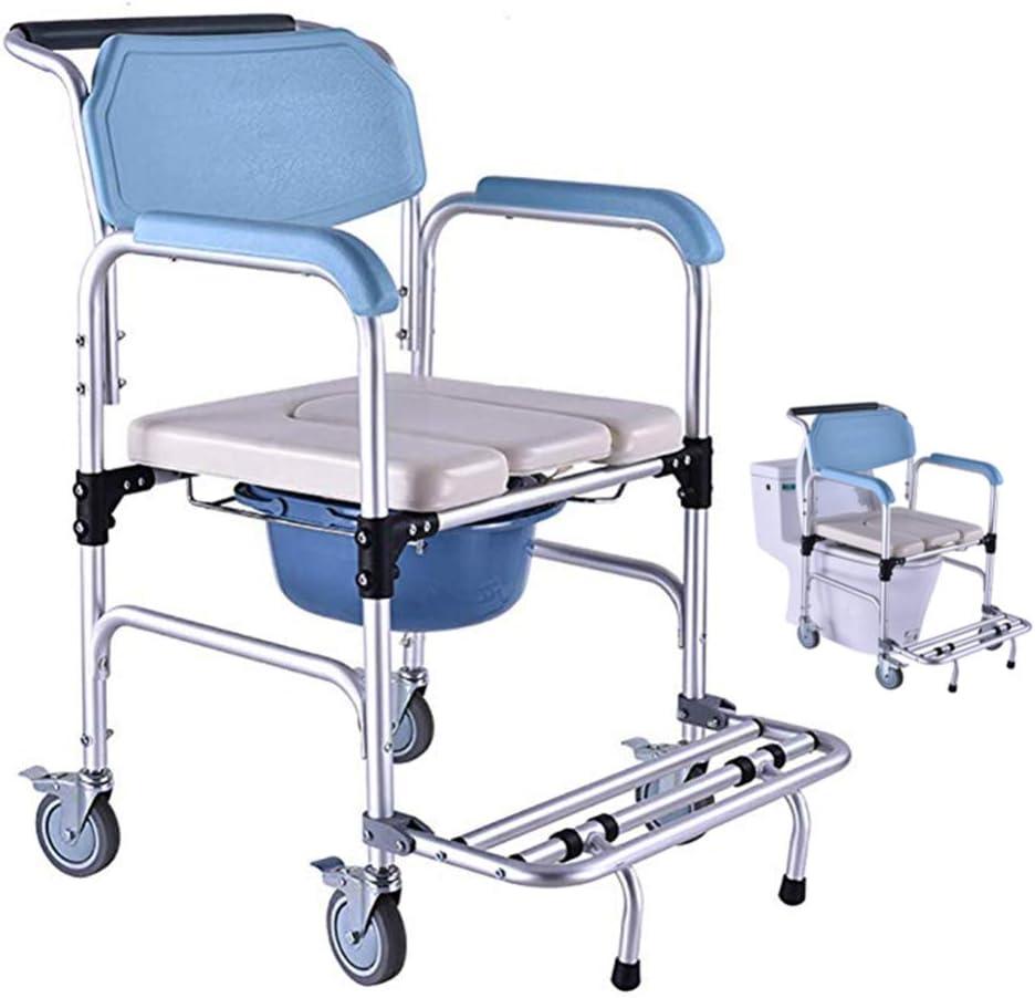 Silla de Ducha para Mujeres Embarazadas/Cómoda móvil para Ancianos/Ruedas y Frenos Pedal Plegable/Silla de Paseo para discapacitados/Asiento Acolchado con Esponja