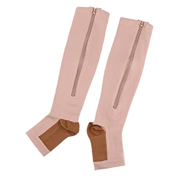 599dd27726 MagiDeal 1 Pair Copper Mens Womens Compression Socks Calf Leg Foot Support  Open Toe Stockings Knee