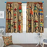 """Strongger Afro African American History Art Decor Window Curtain Drape Afrocentric Artwork Women in Tribal Dresses Carrying Water Decorative Curtains for Living Room 52""""x63"""" Camel Red Green Brown"""