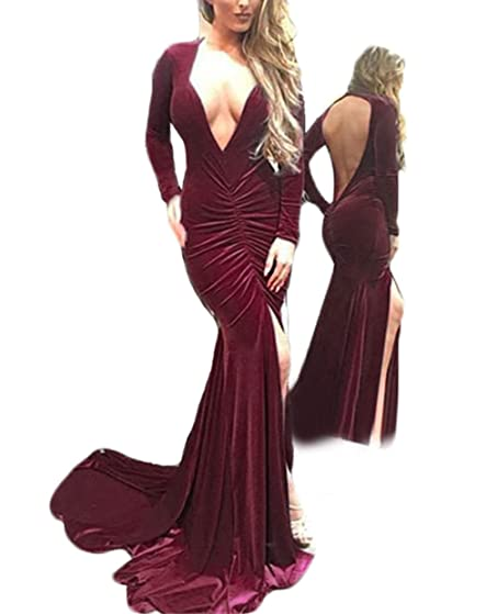 Womens Burgundy Velvet Prom Dresses With Long Sleeves Mermaid Evening Gowns