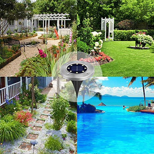 [8 Pack] Solar Ground Lights,Solar Garden Light,8 LED Garden Pathway Outdoor In-Ground Lights,Waterproof Stainless Steel Disk Flood Lights Dark Sensing Landscape Lighting for Lawn Yard Patio -White by HUYHU (Image #7)