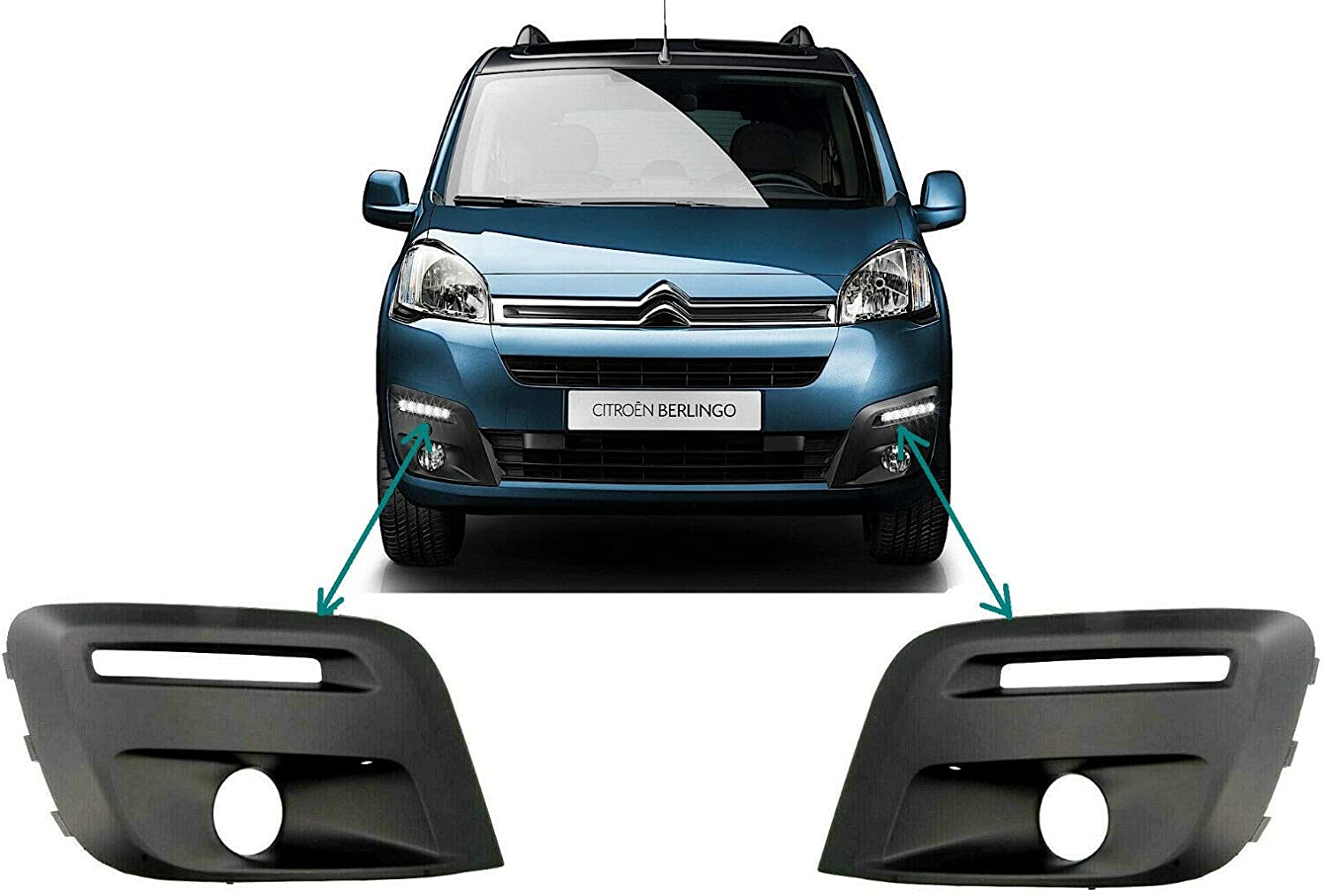 Front Bumper Lower Grille Set Left and Right Side WITH Fog Light Hole BERLINGO PARTNER