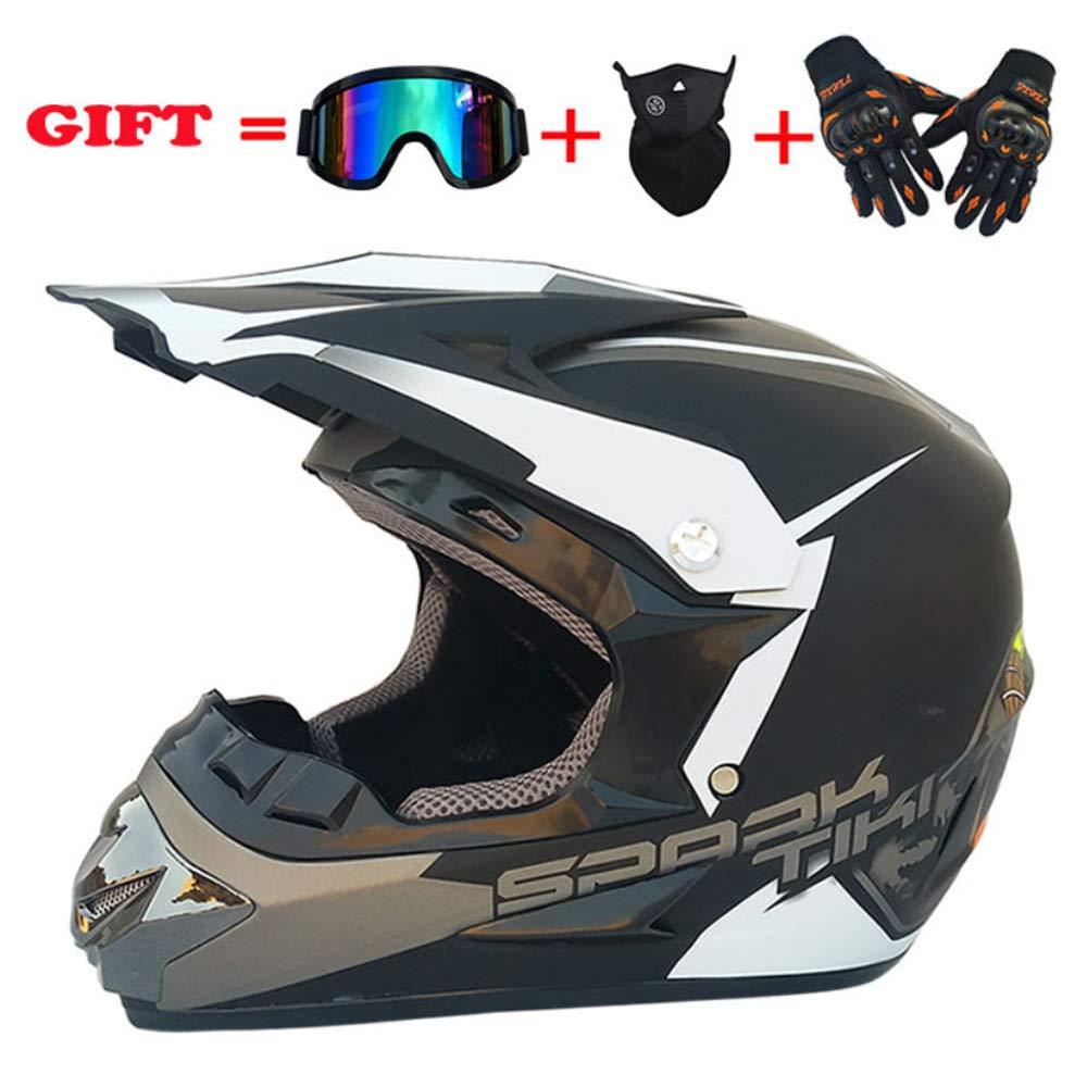 XSWE Full Face Helmet Motorcycle Up Helm Helm mit Inner Sun Visor Off-Road Mountain Motorcycle Racing Helm Größe: S-XL (Handschuhe, Goggles, Maske, Set of 4)