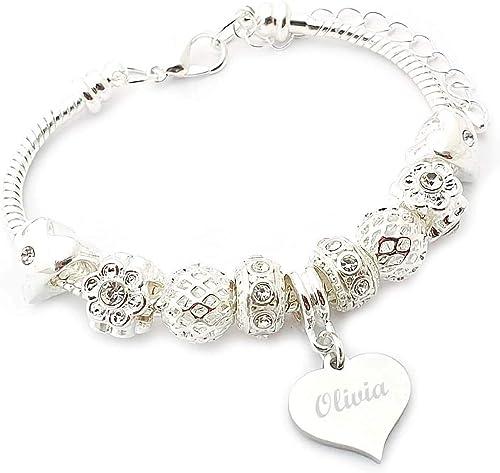 The engraving Gallery nombre para pulsera para mujer tipo Pandora caja de regalo: Amazon.es: Joyería