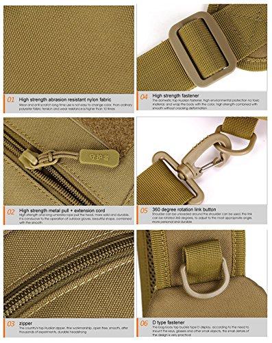 FlyHawk Outdoor Umhängetasche Wasserdicht mit Wasserflasche Halter mit Brusttasche IPAD mini Freizeit-Paket Reisetaschen Reiten Rucksack, 20L, 7 Farben X216-Tarnung