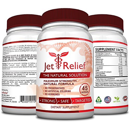 JetRelief - The #1 Choice for Jet Lag Relief - 100% Pure & Natural with NO MELATONIN- Helps Regulate Circadian Rhythm - With DMAE, Vitamin B and Magnesium - 100% Money Back - 6 Bottles Supply by JetRelief (Image #1)