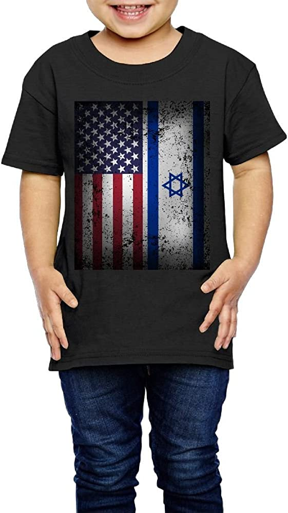 XYMYFC-E American Israeli Flag 2-6 Years Old Children Short-Sleeved T-Shirt