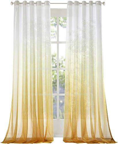 Royhom 200″ W x 102″ L Multi Size Gradient Style Sheer/White Gradual Yellow Sheer/Grommet Top Sheer/Large Curtain/Large Window/One Panel