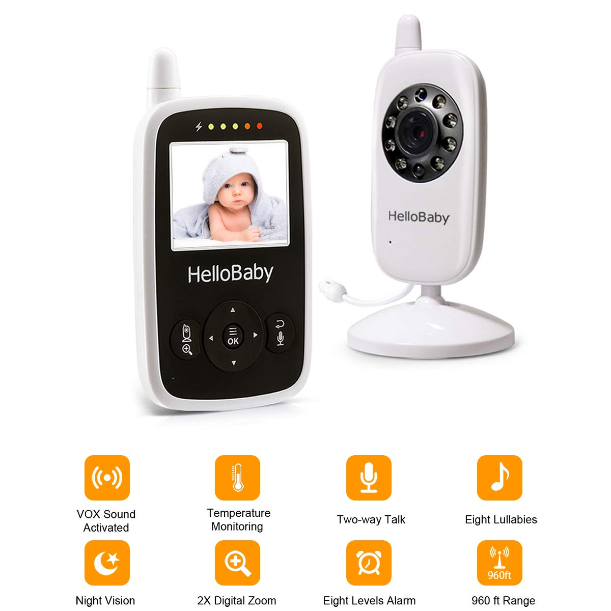 HelloBaby Video Baby Monitor with Camera - Infrared Night Vision, Two-Way Talk Back, Screen, Temperature Detection, Lullabies,Long Range, Private Data Protection and High Capacity Battery by HelloBaby (Image #2)