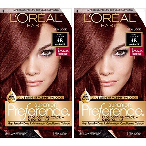 L'OrÃal Paris Superior Preference Fade-Defying + Shine Permanent Hair Color, 4R Dark Auburn, 2 Count Hair Dye