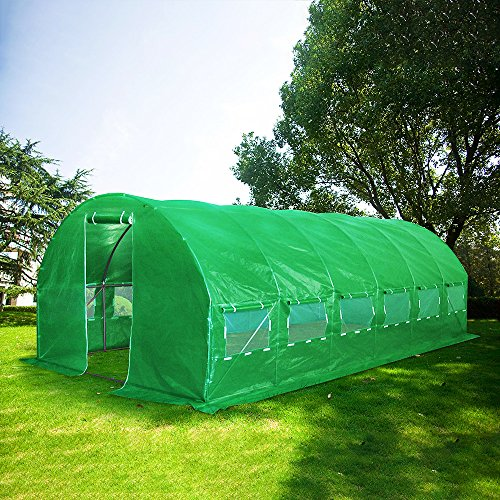 Quictent Galvanised 2 Doors 19.7 X 9.8 X 6.6 Ft Portable Greenhouse Large Walk-in Tunnel Green Garden Hot House