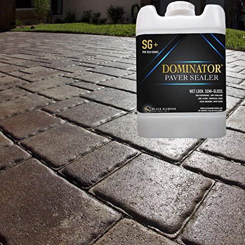 5 Gallon DOMINATOR SG+ High Gloss Paver Sealer and Decorative Concrete (Wet Look) - Solvent Free, Twice The Coverage Rate (up to 2,000 sq ft) (Concrete Pavers Seal Patio)