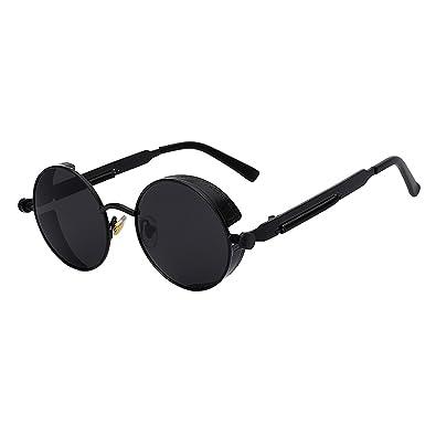 b2e3c51f4 2018 Mirror Lens Round Glasses Goggles Steampunk Sunglasses Vintage Retro  Hisper Eyewear All Black
