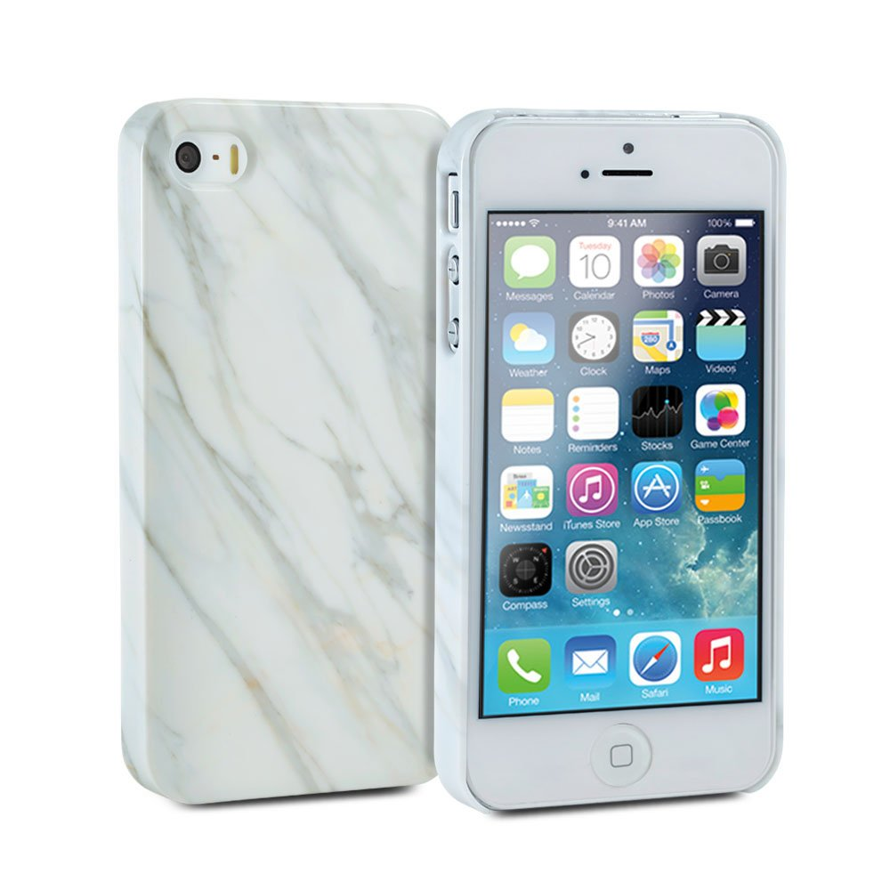 purchase cheap 09bea 16f5c GMYLE iPhone 5s Case, iPhone SE Case, Snap Cover Glossy for iPhone 5s –  White Marble Pattern Slim Hard Back Case