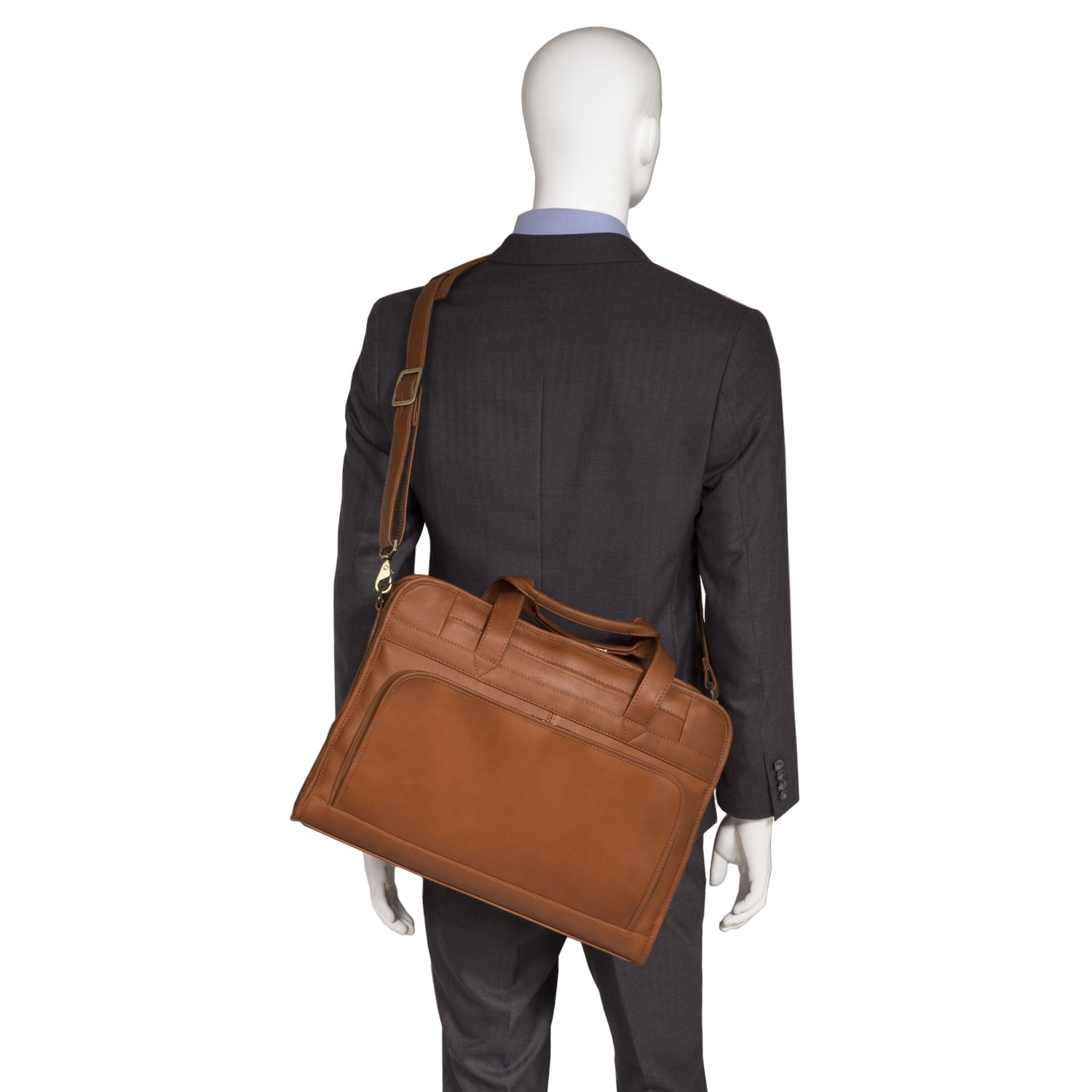 Muiska Leather Top-Zip 17 Inch Laptop Briefcase, Saddle, One Size by Muiska (Image #6)
