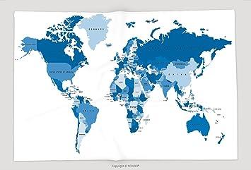 Superweicher Fleece Uberwurf Decke Blau Weltkarte Mit Die Namen