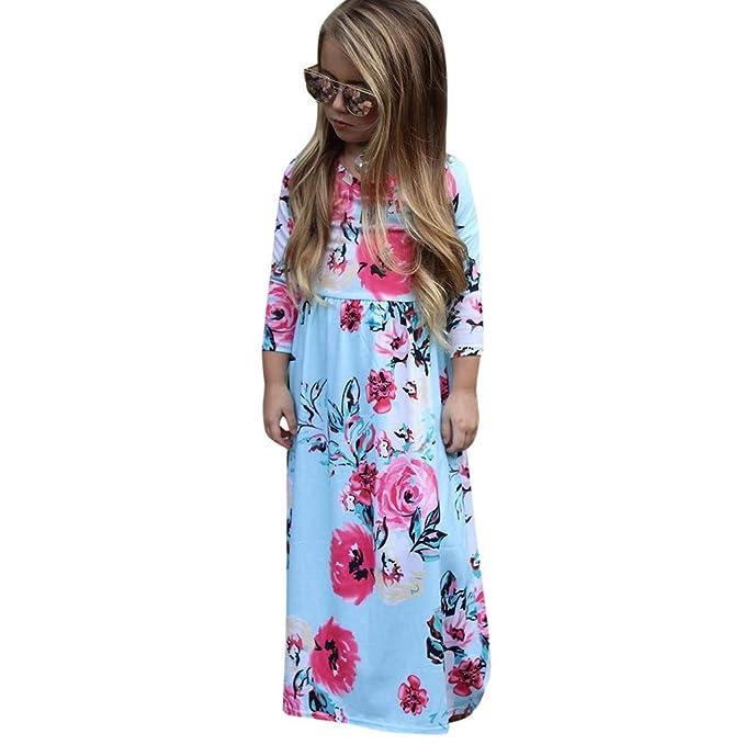 QinMM Vestiti Cerimonia Bambina Compleanno Principessa Abito Ragazza con  Maniche Lunghe Abito Floreale a Maniche Lunghe (2anni-6anni)  Amazon.it  ... 9f1a6e16071