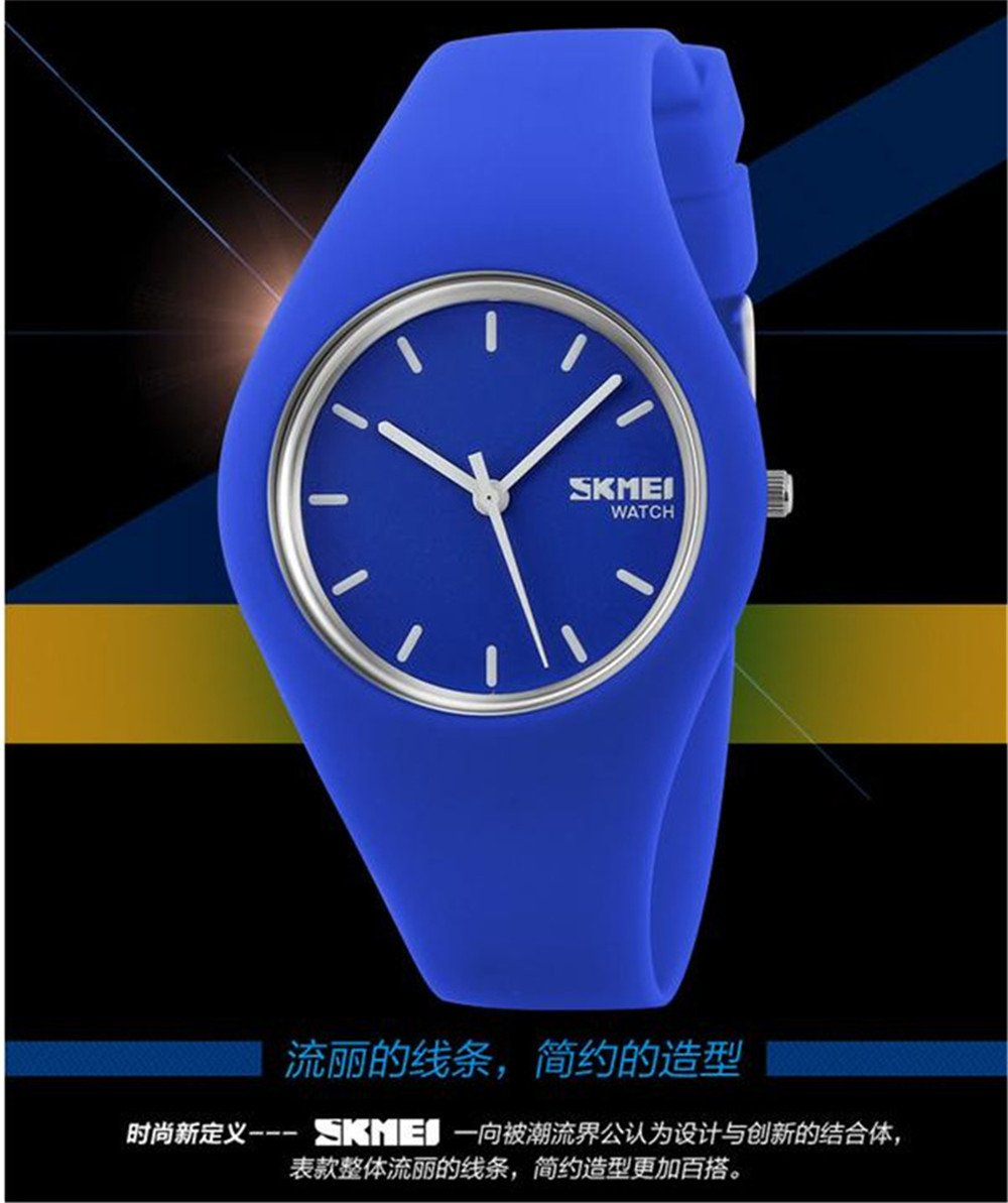 Skmei Fashion Trends Korean Version of The Silica Gel Quartz Ultra-Thin fine Gift Watches(12 Styles) (Pink) by SKMEI (Image #2)