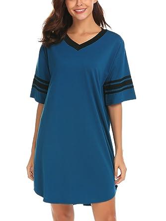 SWISSWELL Womens Nightshirt Nightdress Ladies Pajamas V-Neck Short Sleeve  Sleep Shirt Nightgown Jersey Nightie d4c3165bf