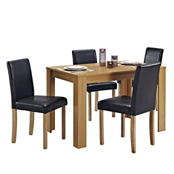 Dining Table And 4 Chairs With Faux Leather Oak Furniture Room Setu2026