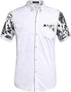 c03b9ce43ee26 SSLR Men s Flower Regular Fit Short Sleeve Button Down Cotton Shirts White