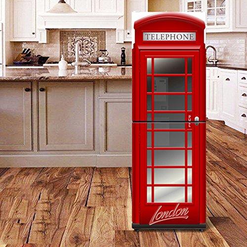 XIAOMAN Adesivi per frigo da Cucina Cabina telefonica Britannica HD Frigorifero Porta Wrap Cover Rimovibile Fai da Te Art Decal (Color : Multi-Colored, Size : 60 * 150cm) None