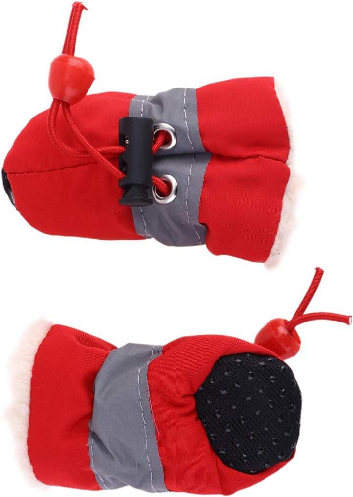 Balacoo 1 Juego de Zapatos para Perros Botas de Cachorro de Felpa Botas de Nieve Antideslizantes Calzado Protector de Pata con Correas Ajustables para Teddy Chihuahua Poodle Cat Talla 1 Rojo