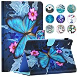 iPad Mini Case, Mini 2/3 Case, Dteck Slim Fit Folio Stand Leather Case with Auto Sleep/Wake Magnetic Wallet Smart Cover for Apple iPad Mini 1/2/3 (Blue Butterfly & Pink Flower)