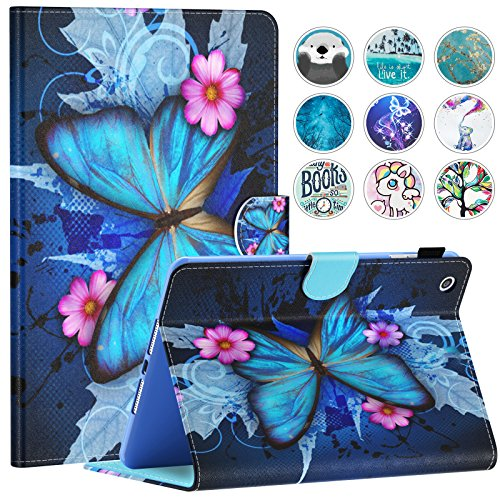 iPad Mini Case, Mini 2/3 Case, Dteck Slim Fit Folio Stand Leather Case with Auto Sleep/Wake Magnetic Wallet Smart Cover for Apple iPad Mini 1/2/3 (Blue Butterfly & Pink ()