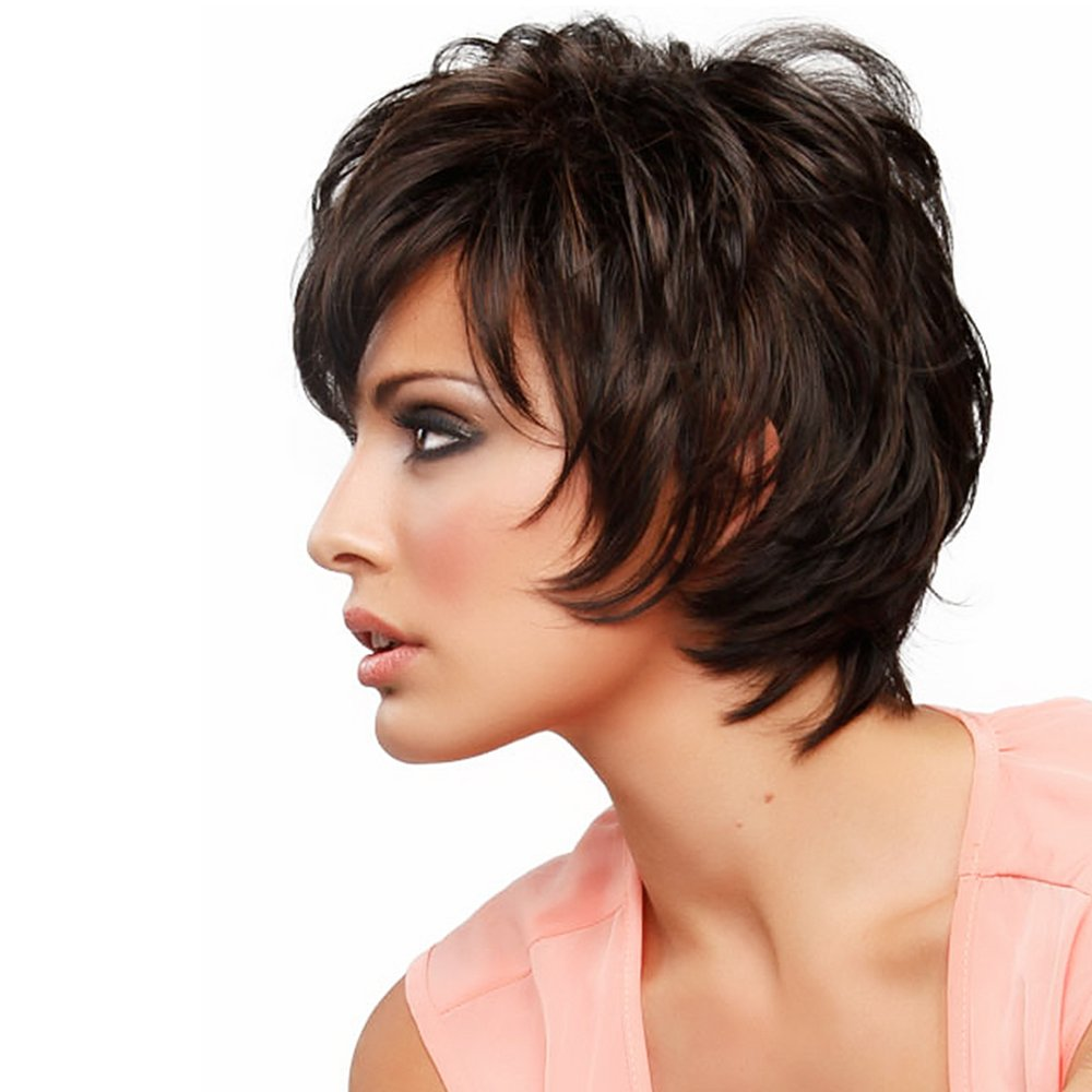 Amazon.com: HAIRCUBE Short Layered Wigs with Side Bangs Natural Human Hair Wigs for Women(Color 6 Deep Brown): Beauty