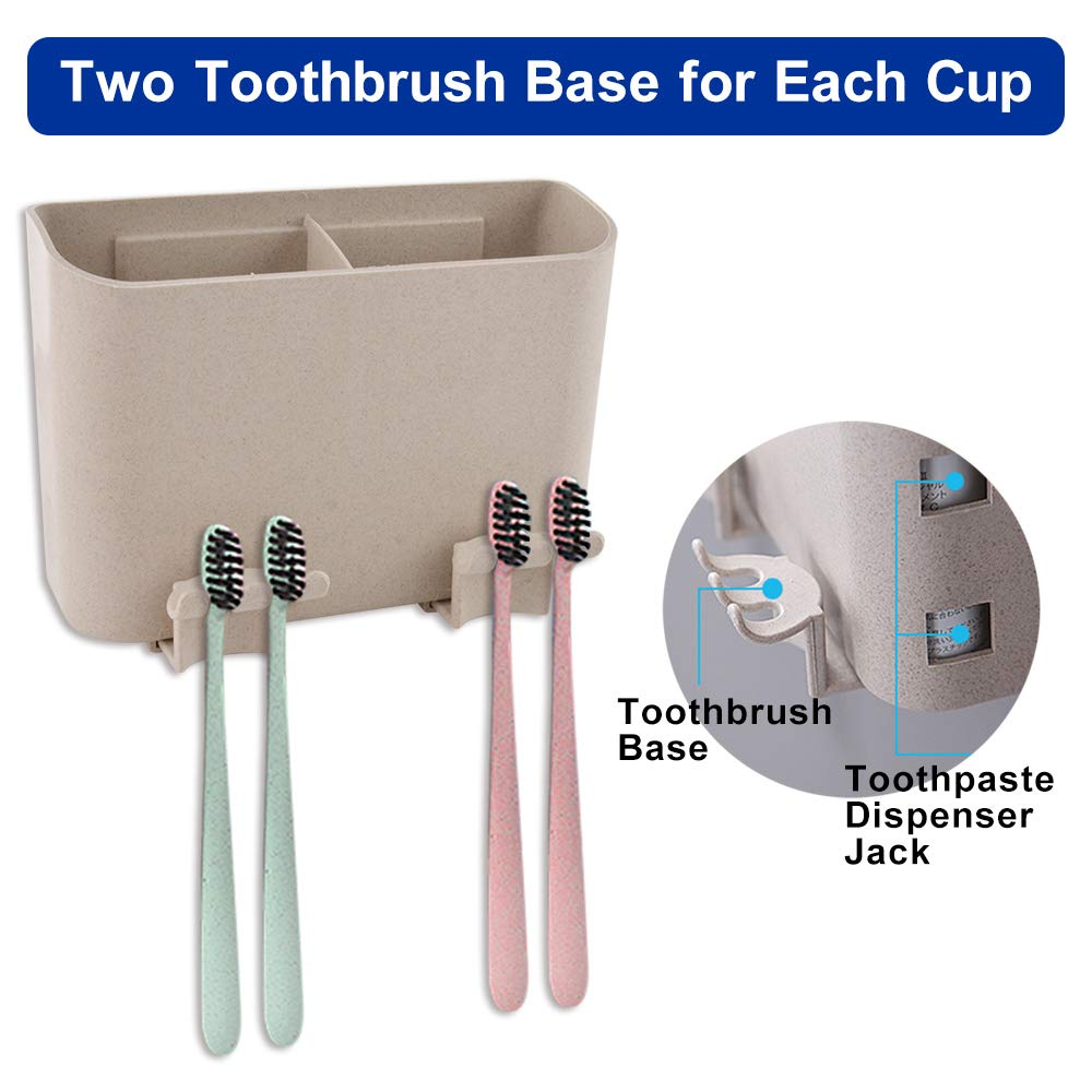 Toothbrush Holder Wall Mount 2 Cups Electric Toothbrush Toothpaste Storage Set for Kids Bathroom Organizer