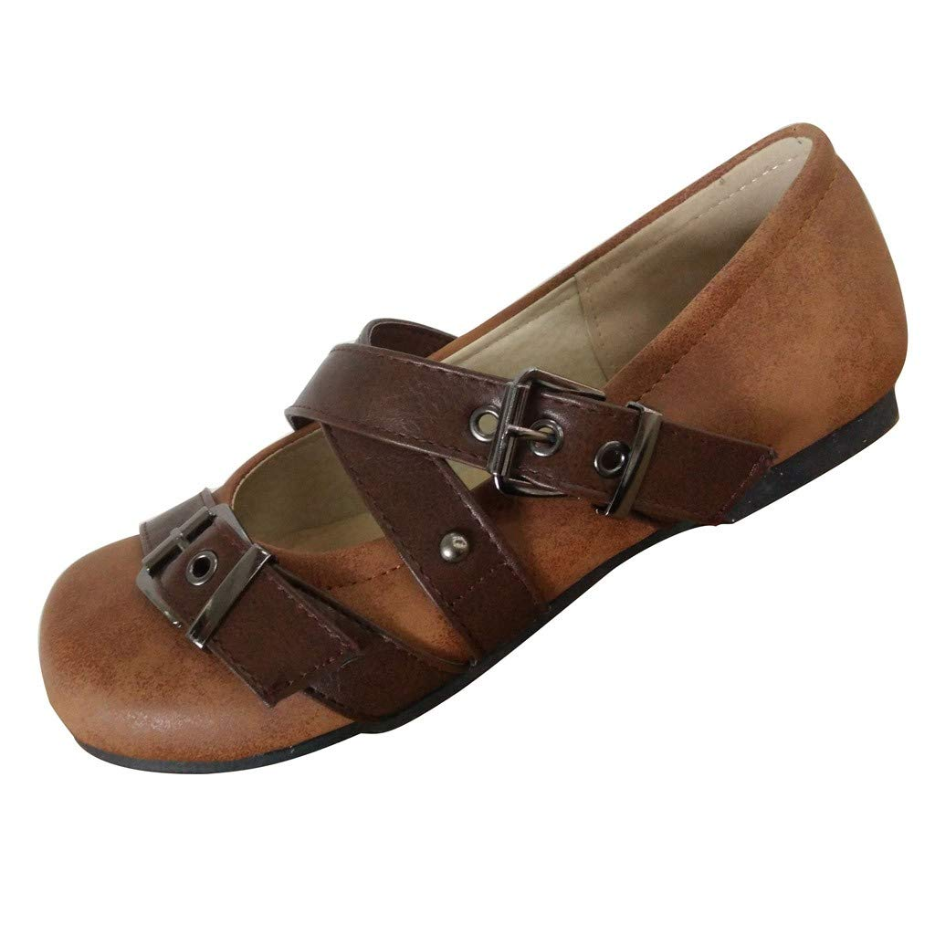 Shusuen Women's Casual Suede Mary Jane Slip-on Flat Dance Shoes Brown by Shusuen_shoes