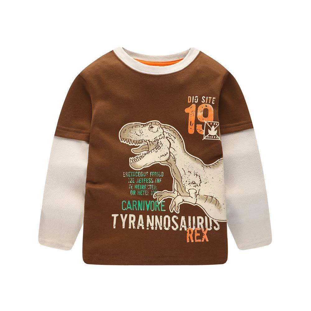 LIKESIDE Children Kids Boys Girls Long Sleeved Cartoon Dinosaur Print Blouse Clothes