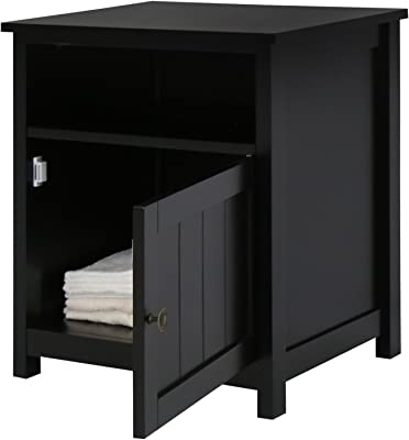 Kinbor Bedroom Furniture Black Night Stand Table with Cabinet for Storage (Black 2)