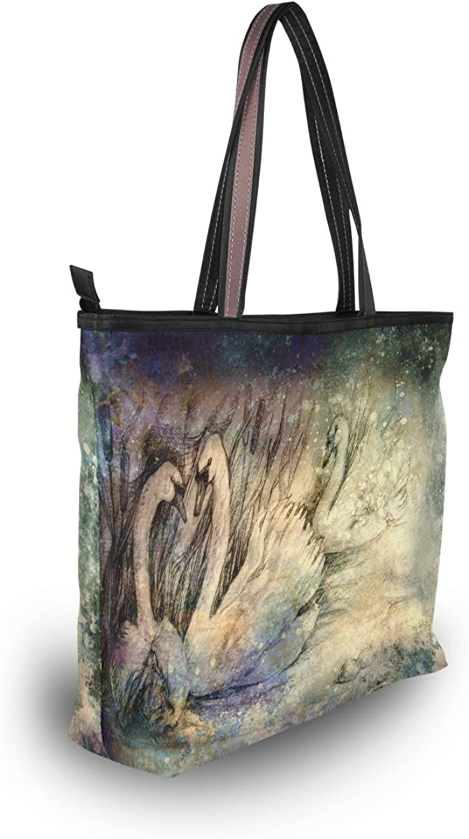 My Daily Women Tote Handbag Watercolor Waves Seascape Painting PU Leather Top-Handle Shoulder Bag