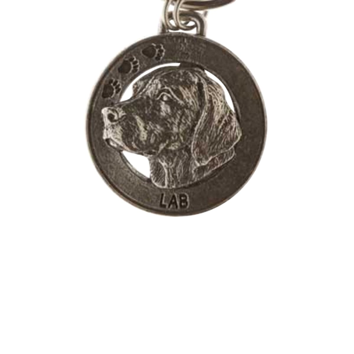 Creative Pewter Designs, Pewter Labrador Key Chain, Antiqued Finish, DK112