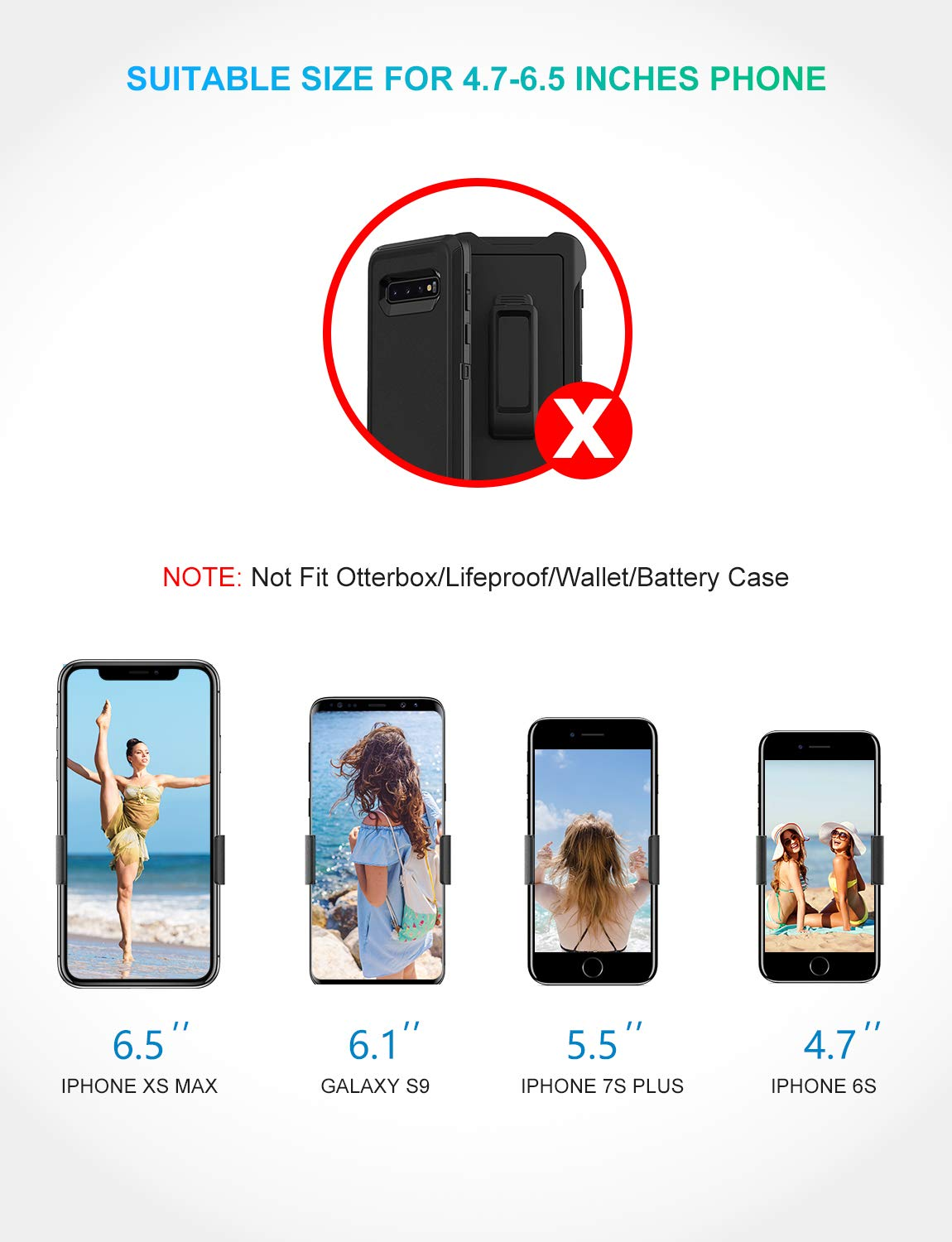 RYYMX Cell Phone Holder for Car Google Other Smartphone Air Vent Car Phone Holder with Double Clips Samsung Galaxy S8 Edge S9+ S10 Compatible iPhone Xs Max XR X 8 8P 7 7Plus 6 6s Car Phone Mount
