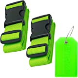 BlueCosto 2X Green Luggage Straps Belts + 1x Green Suitcase Tags Labels